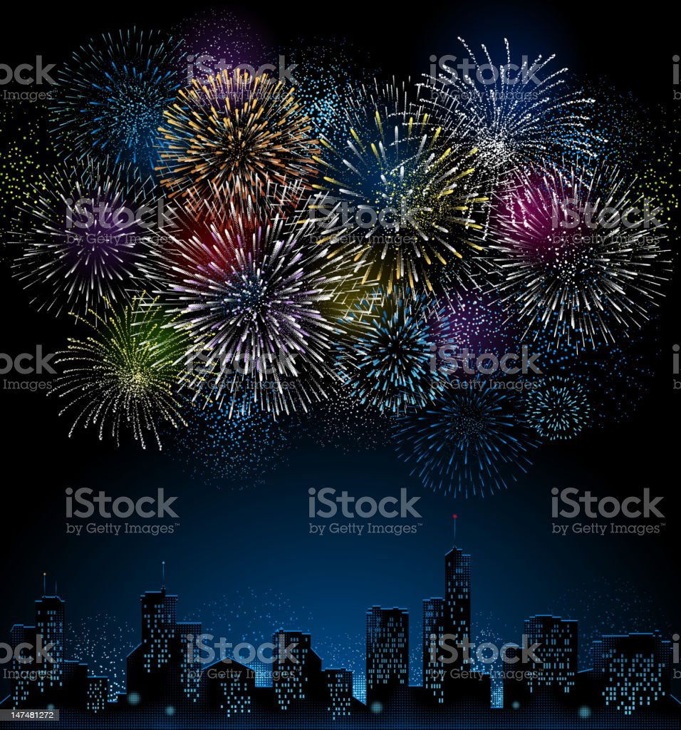 Fireworks with City Skyline vector art illustration