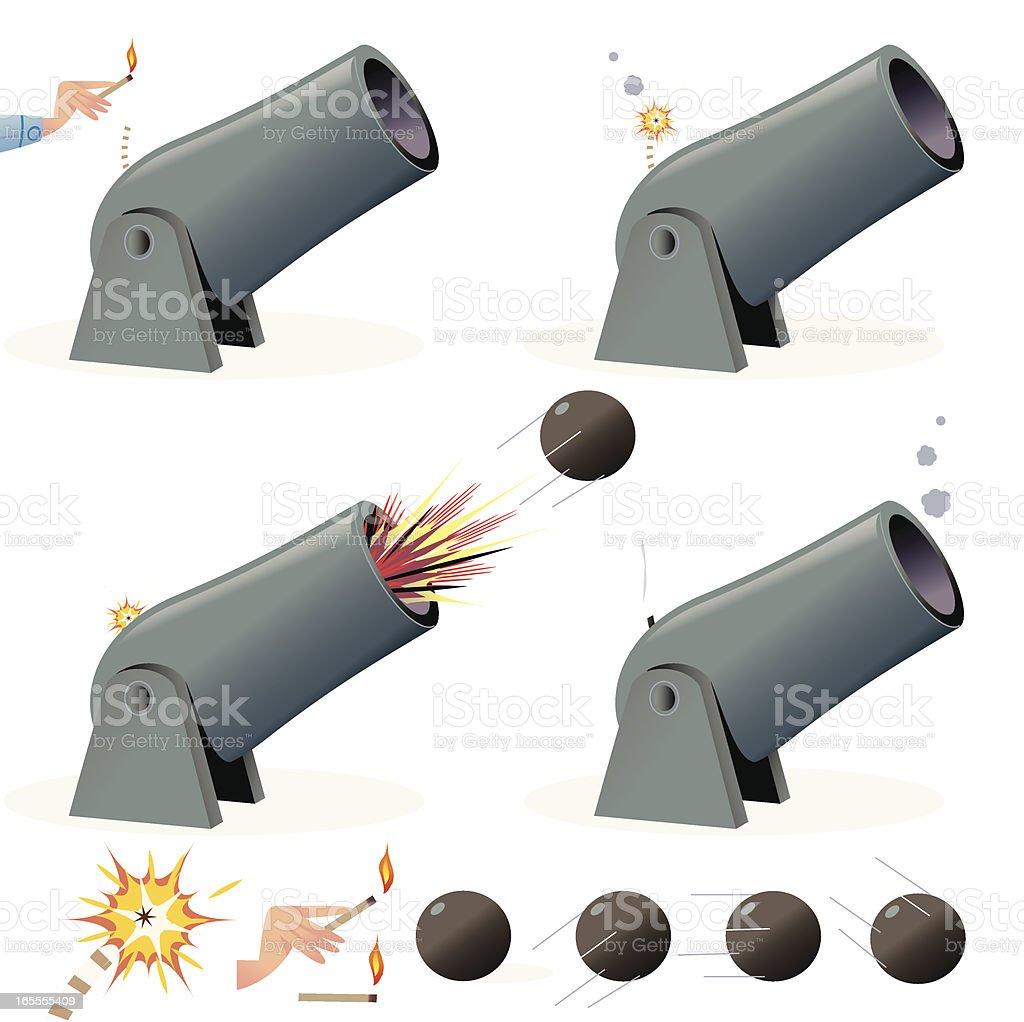 Firing a big Cannon vector art illustration