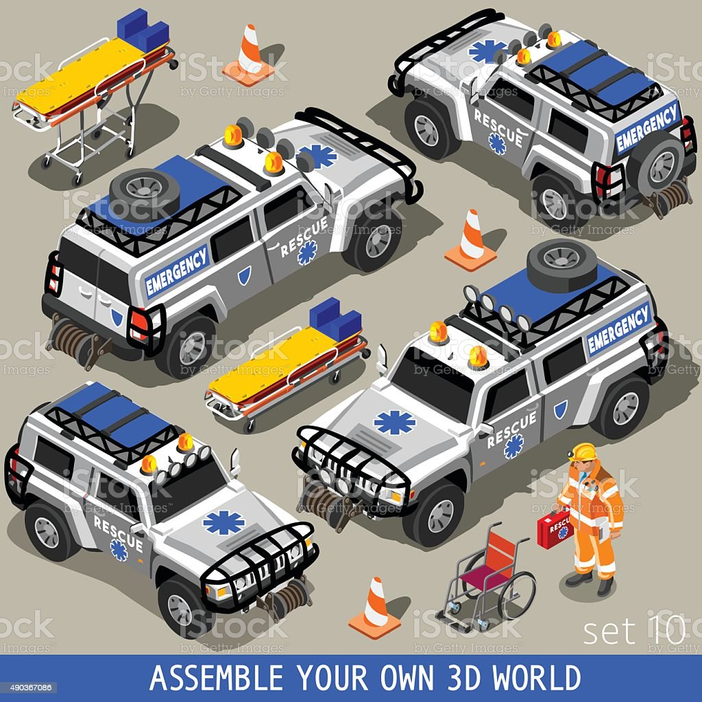First Aid 02 Vehicle Isometric vector art illustration