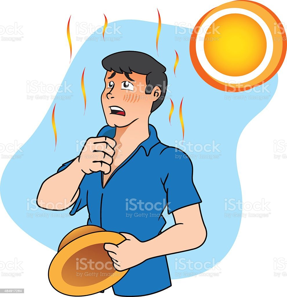 First aid a person with heat stroke and heat vector art illustration