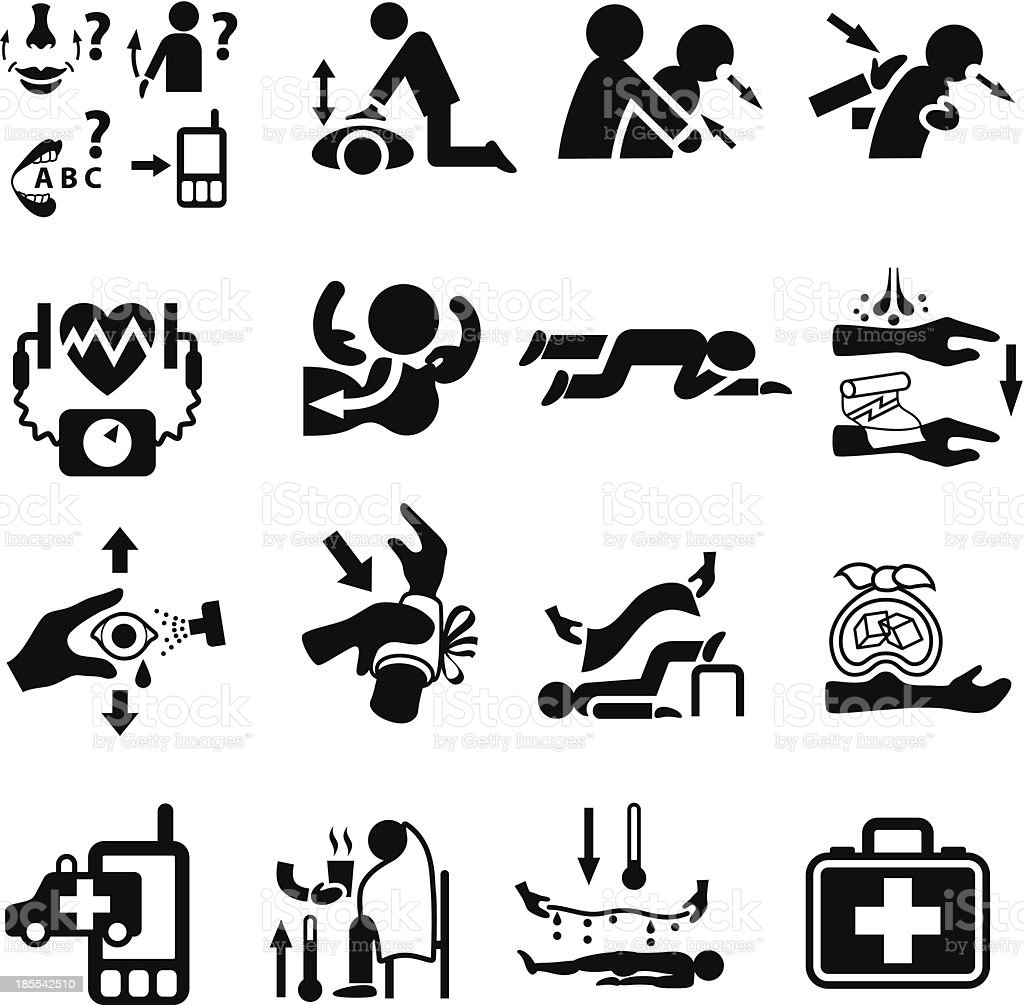 First Aid and Emergency Icon Set vector art illustration
