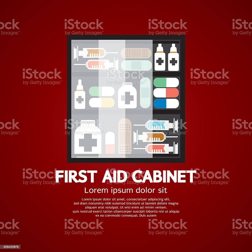 First Aid Cabinet Must Have Medicine For Home Use vector art illustration