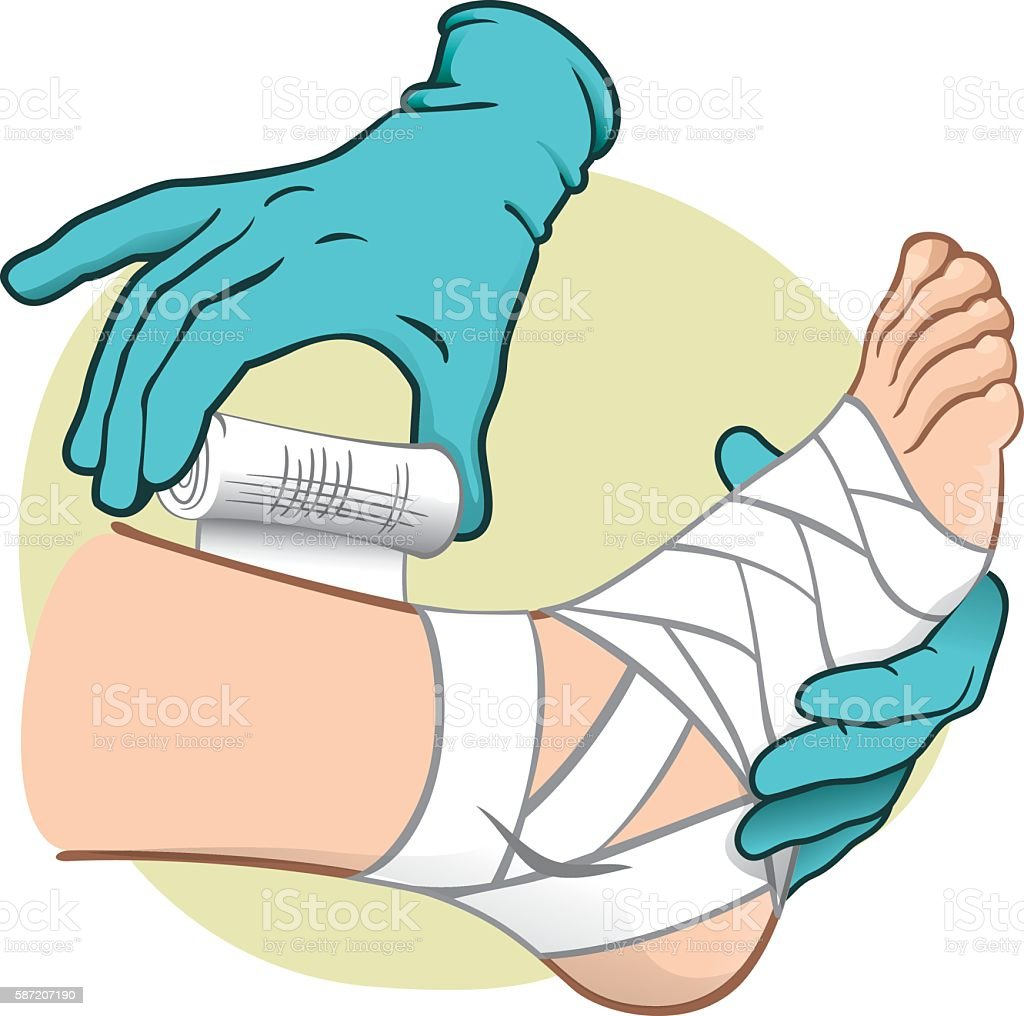First Aid caucasian, side view, bandaging the feet, with glove vector art illustration