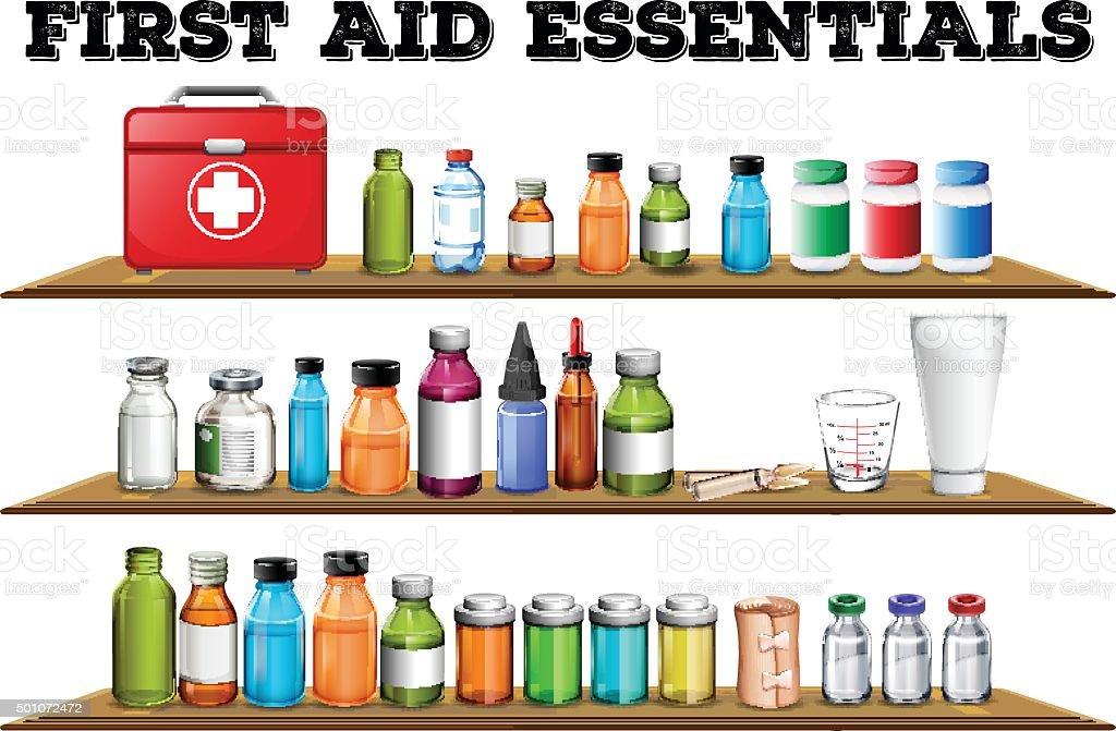 First aid essentials on the shelf vector art illustration