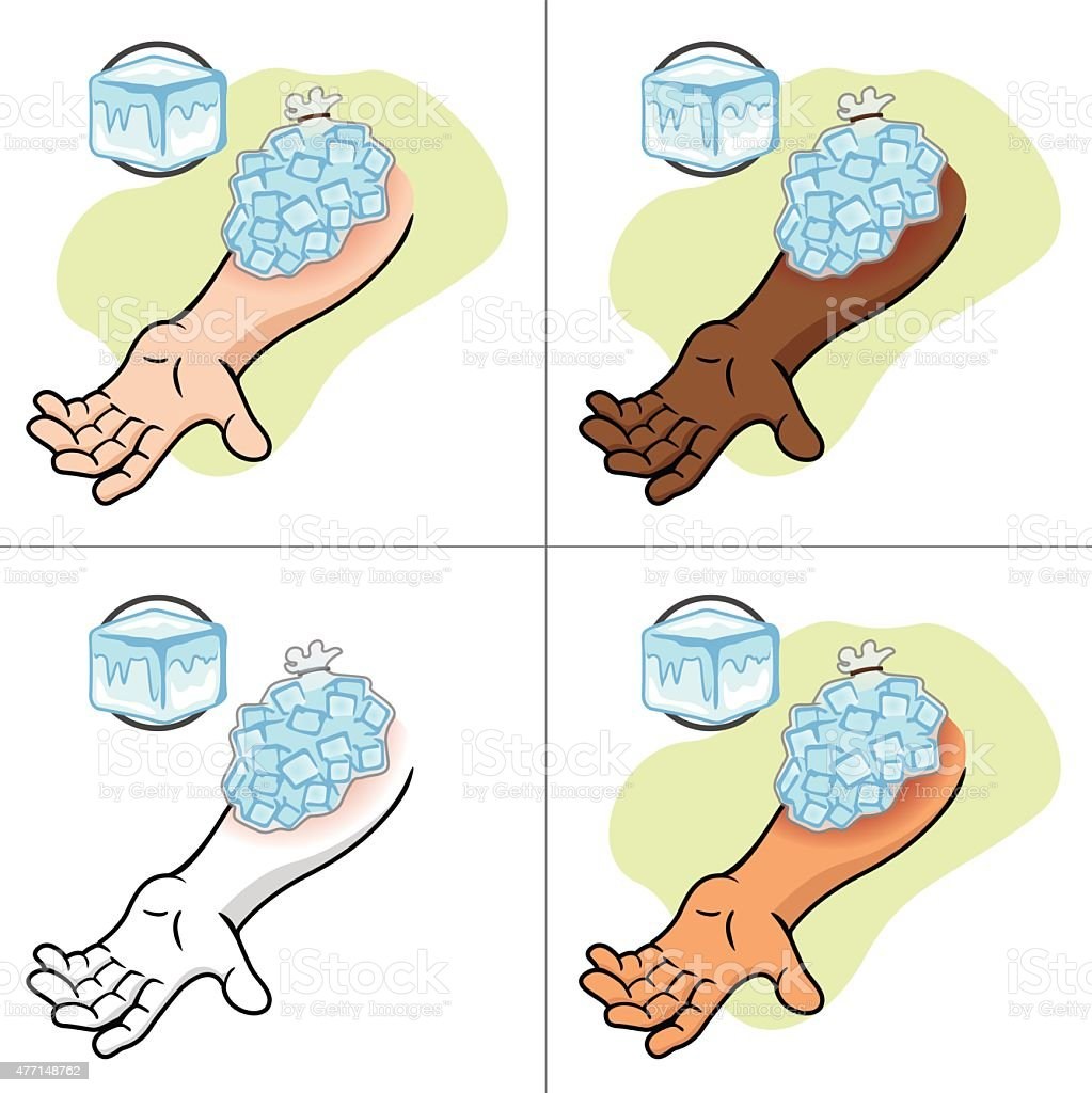 First Aid ice pack on the injured arm vector art illustration