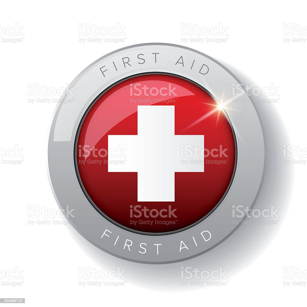 First aid icon vector button vector art illustration