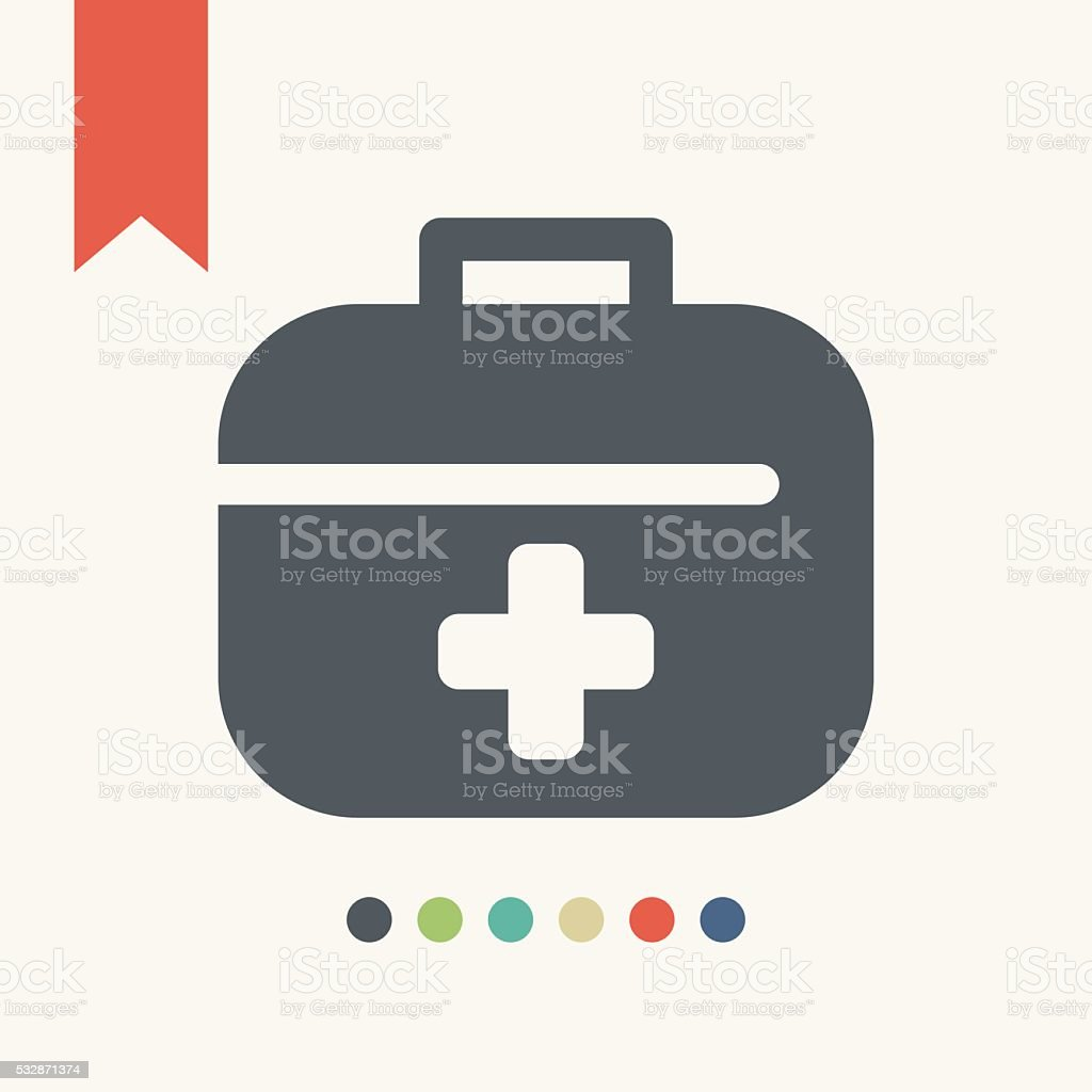 First aid kit icon vector art illustration