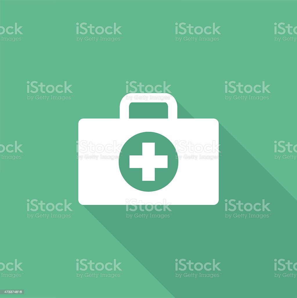 First aid kit icon with a long shadow on a green background vector art illustration