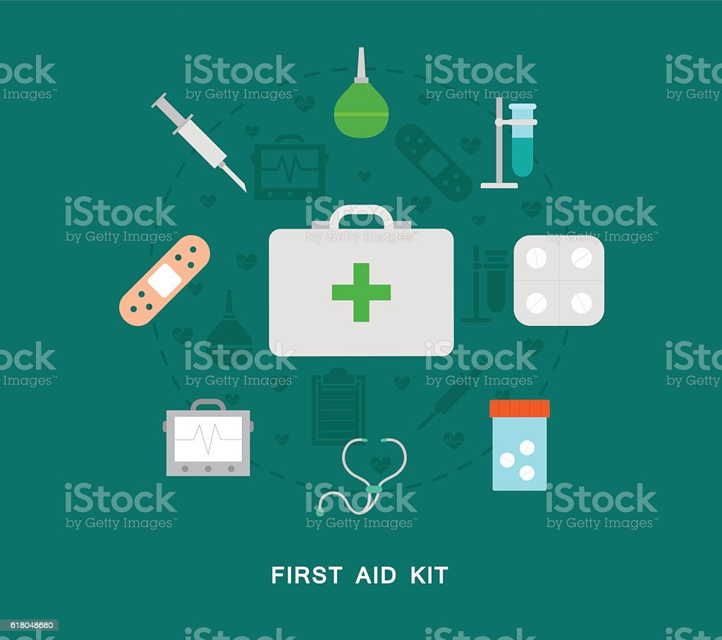 First aid kit icons vector art illustration