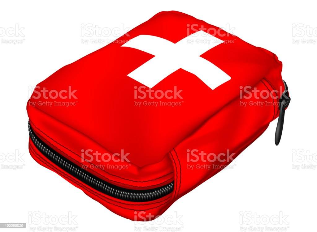 First Aid Kit in a Soft Bag. Medical Equipment vector art illustration