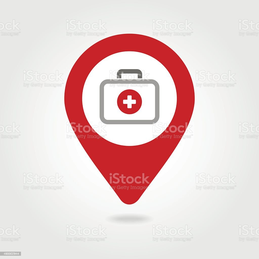 First aid kit map pin icon vector art illustration