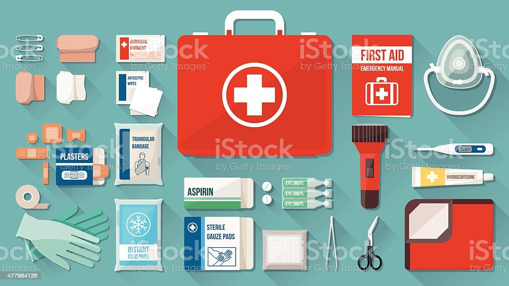 First aid kit vector art illustration