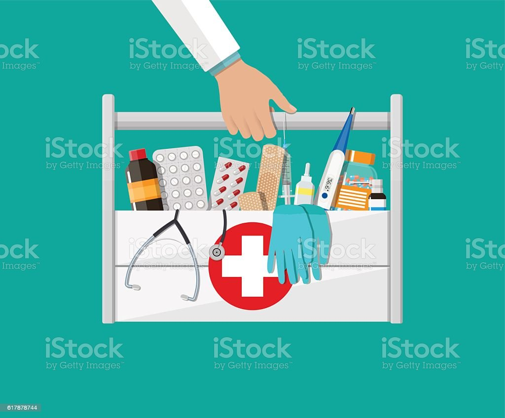 First aid kit with pills and medical devices vector art illustration