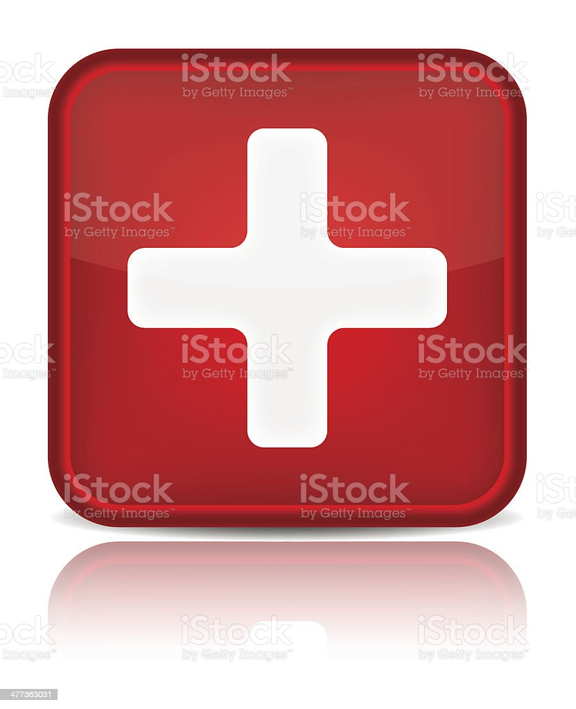 First aid medical button sign with reflection isolated on white vector art illustration