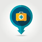 First aid pin map flat icon. Summer. Vacation