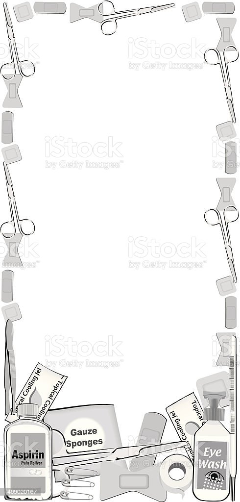 First Aid Supplies Frame royalty-free stock vector art