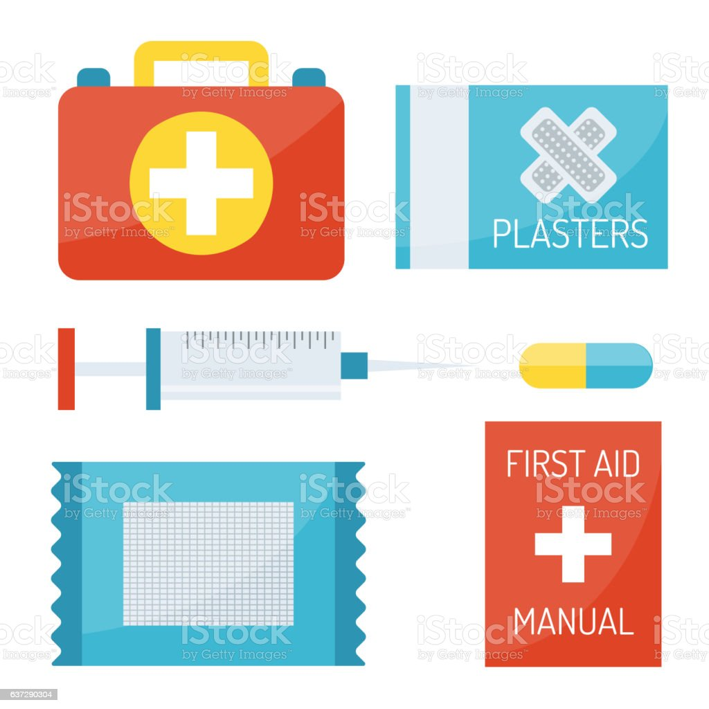 First aid symbols vector illustration. vector art illustration