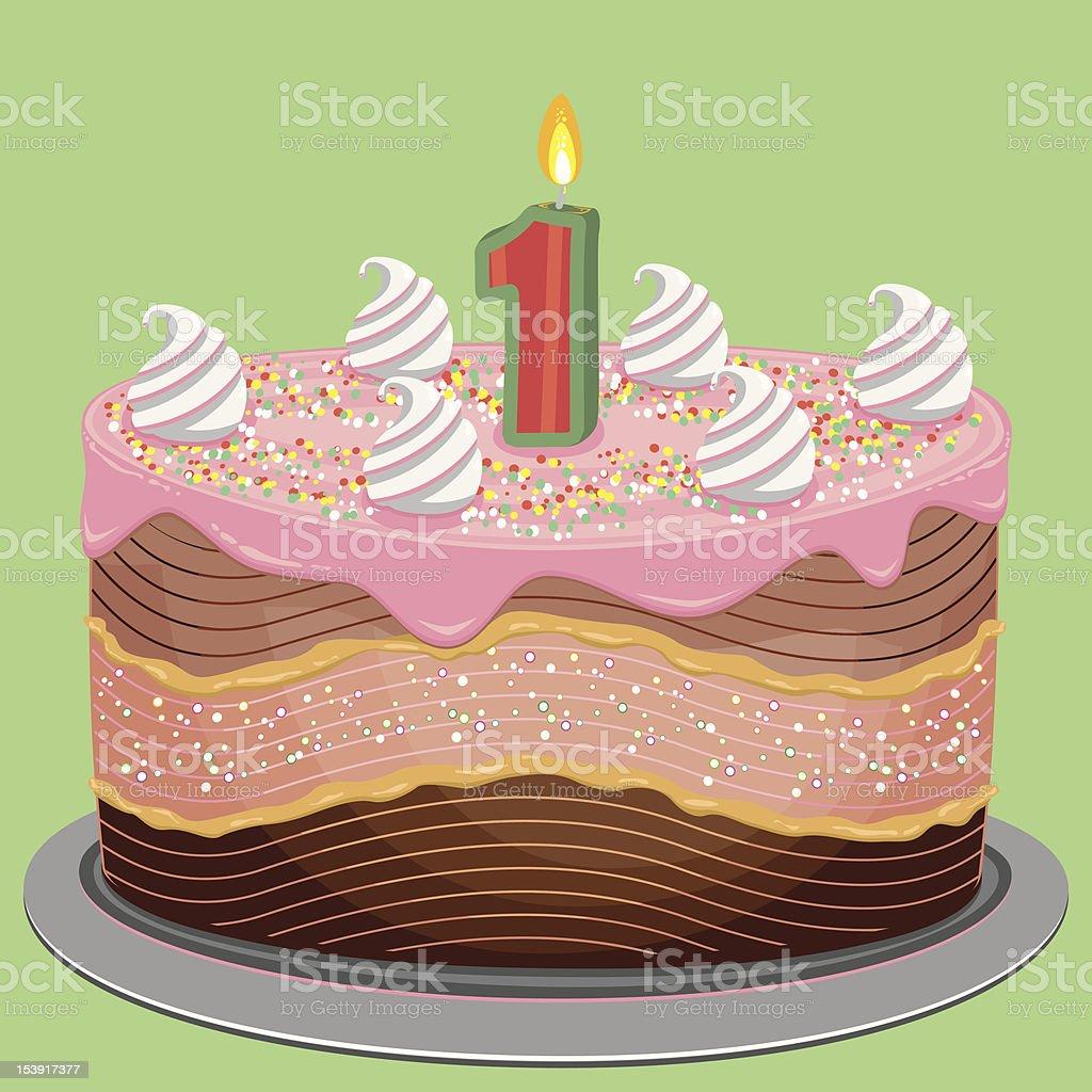 First Birthday Cake royalty-free stock vector art