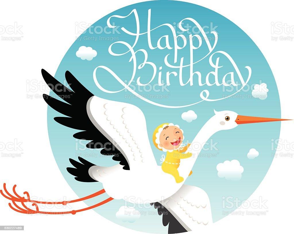 First birthday vector art illustration