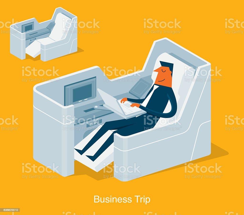 First Class Passenger vector art illustration