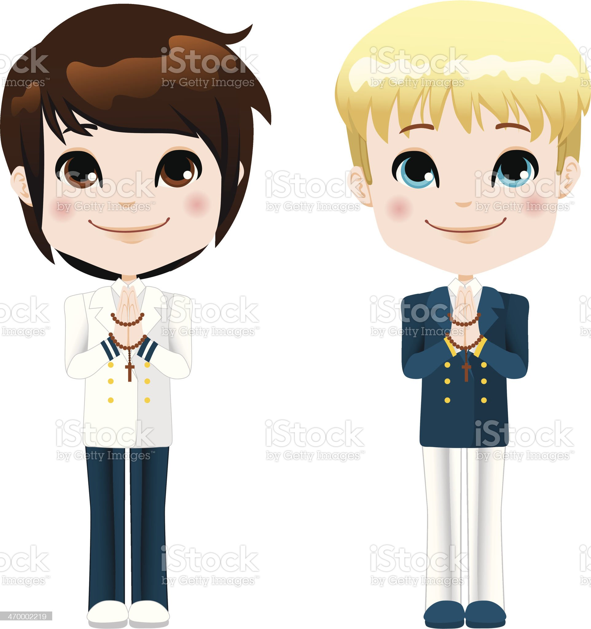 First Communion Boys royalty-free stock vector art
