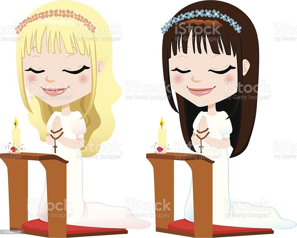 First Communion Prayer Girls royalty-free stock vector art