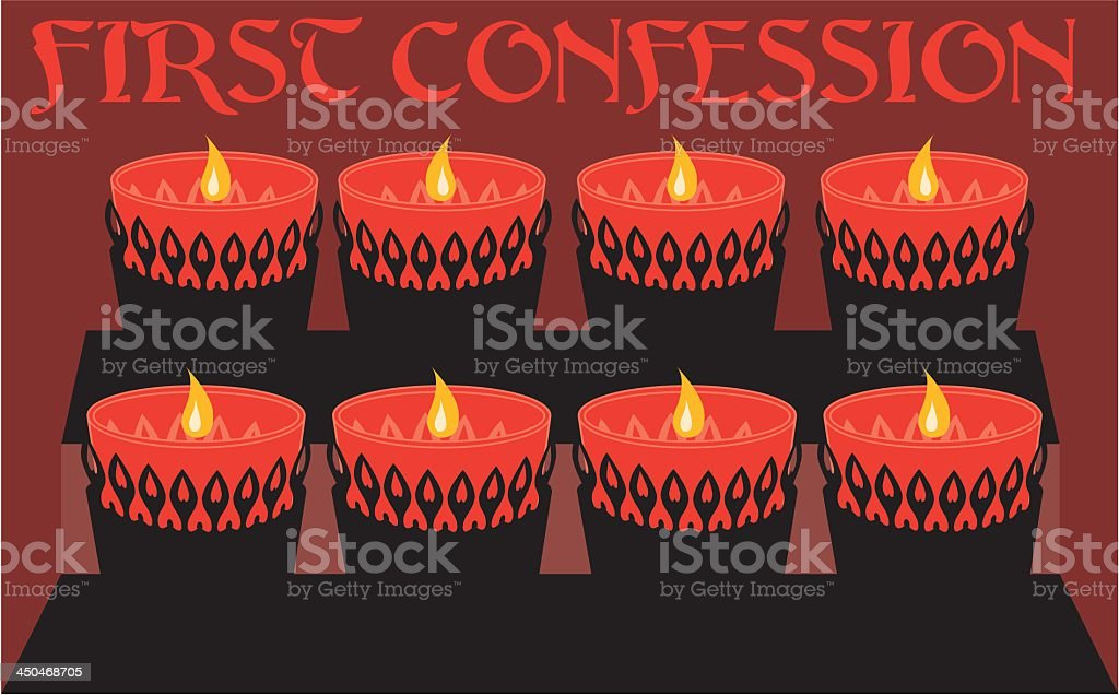 First Confession Graphic with Candles vector art illustration