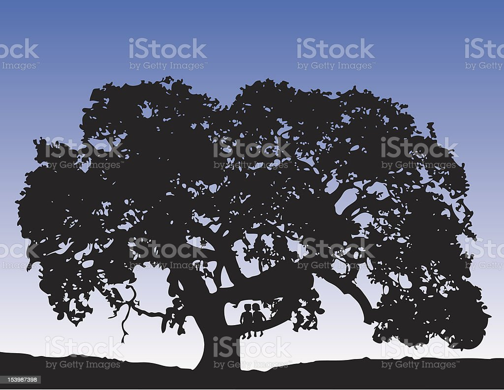 First Kiss under Oak Tree vector art illustration
