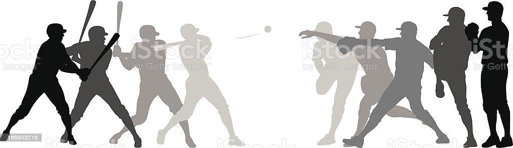 First Pitch Fastball Vector Silhouette vector art illustration