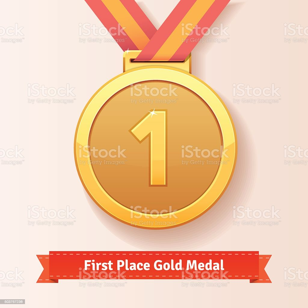 First place award gold medal with red ribbon vector art illustration