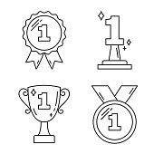 First Place Award Line Icons
