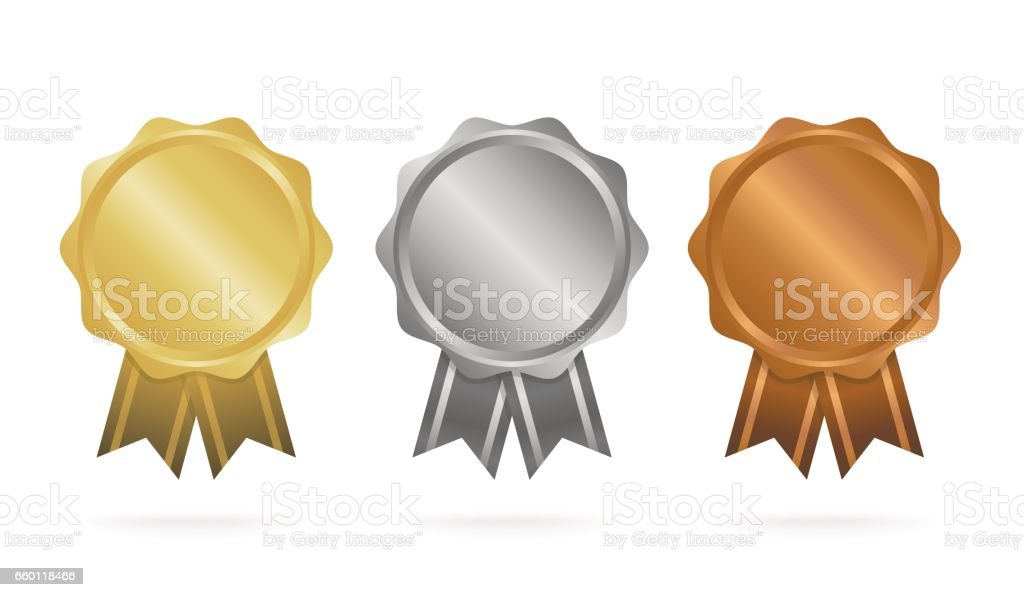 First place. Second place. Third place. Award Medals Set isolated on white with ribbons and stars. Vector illustration. vector art illustration