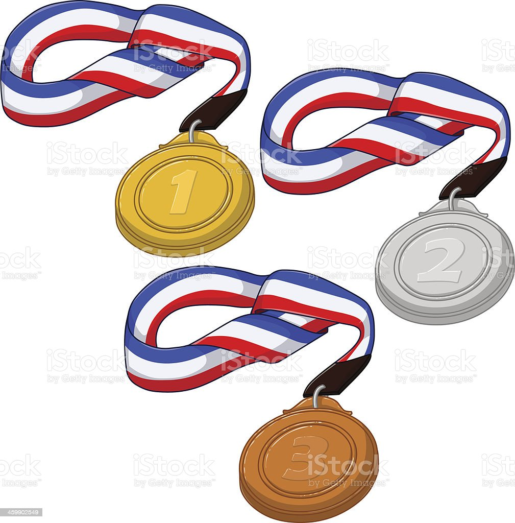First Second and Third Place Medals Pack royalty-free stock vector art