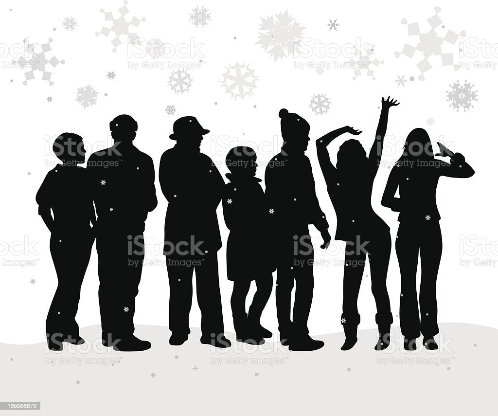First Snow Crowd Vector Silhouette royalty-free stock vector art