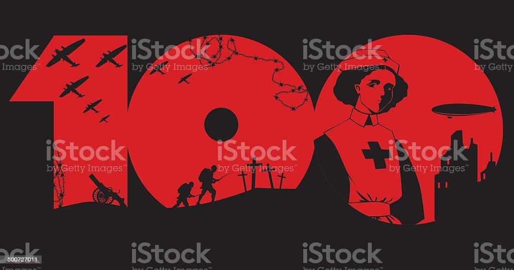 First World War centenary vector art illustration
