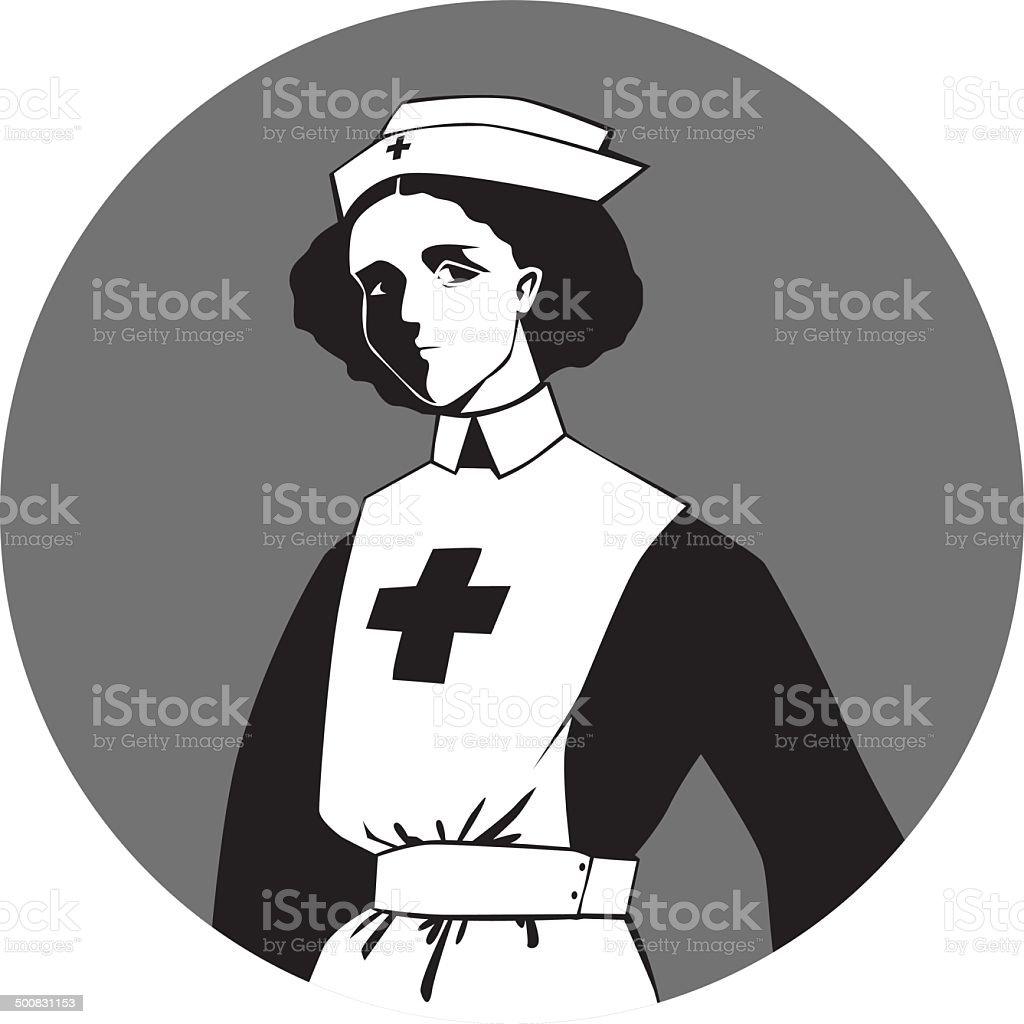 First World War Nurse vector art illustration
