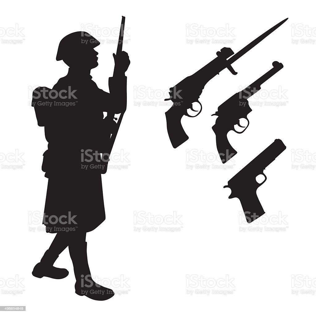 First World War vector art illustration