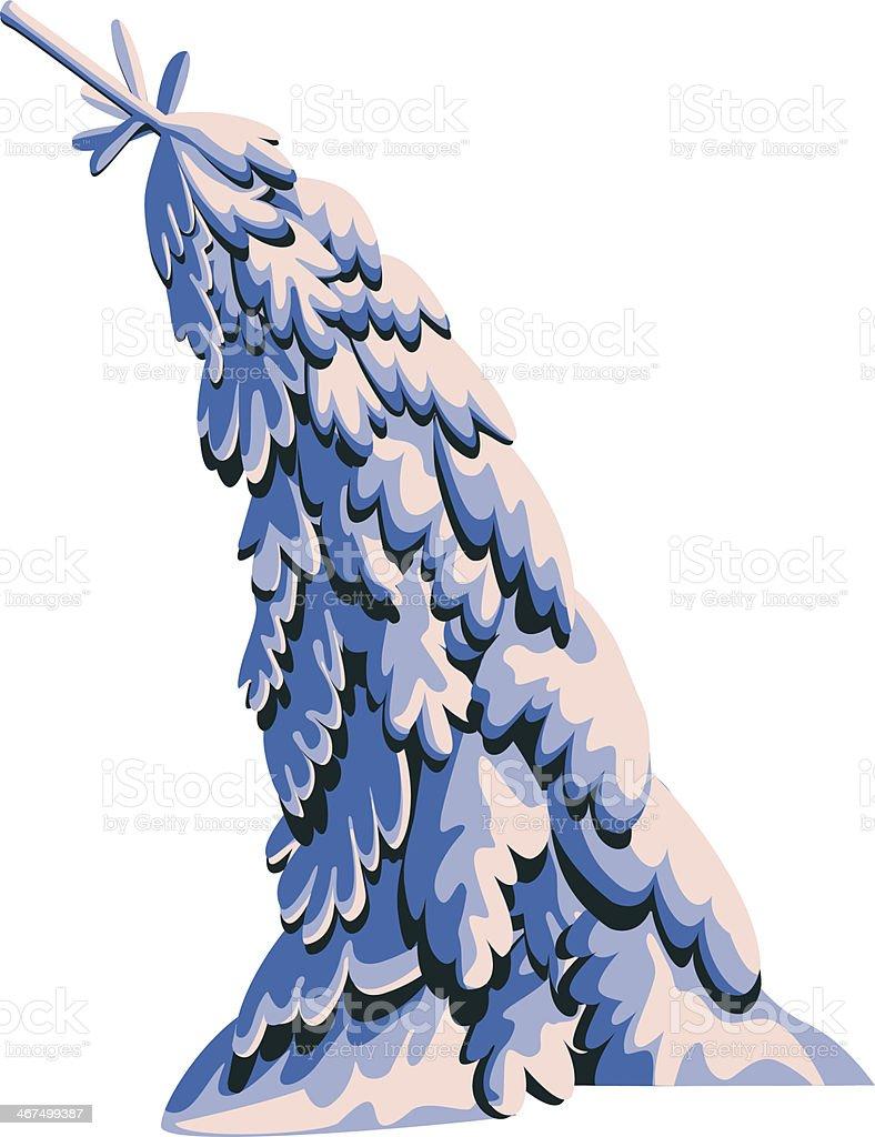 Fir-tree in snow vector art illustration
