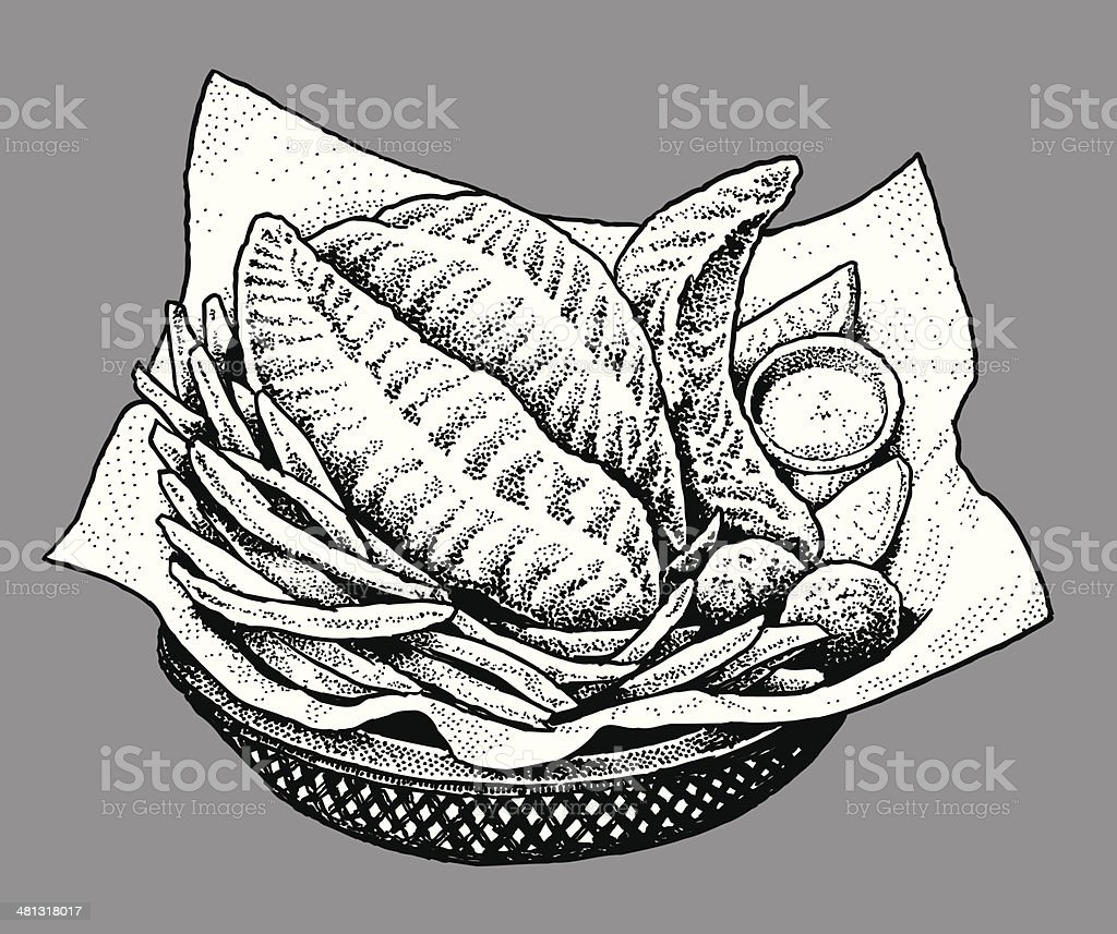 Fish and Chips - Meal, Dinner, Food vector art illustration