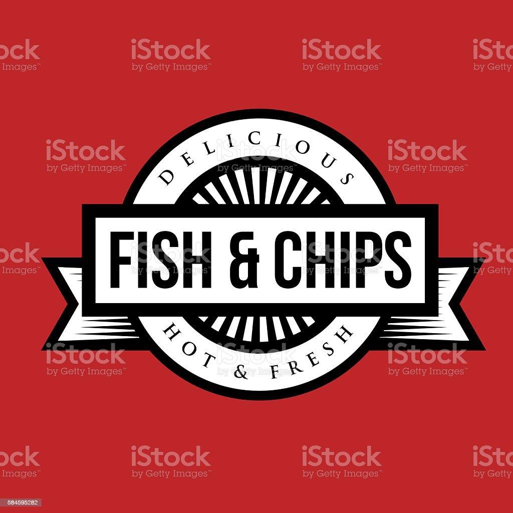 Fish and Chips vintage stamp vector art illustration