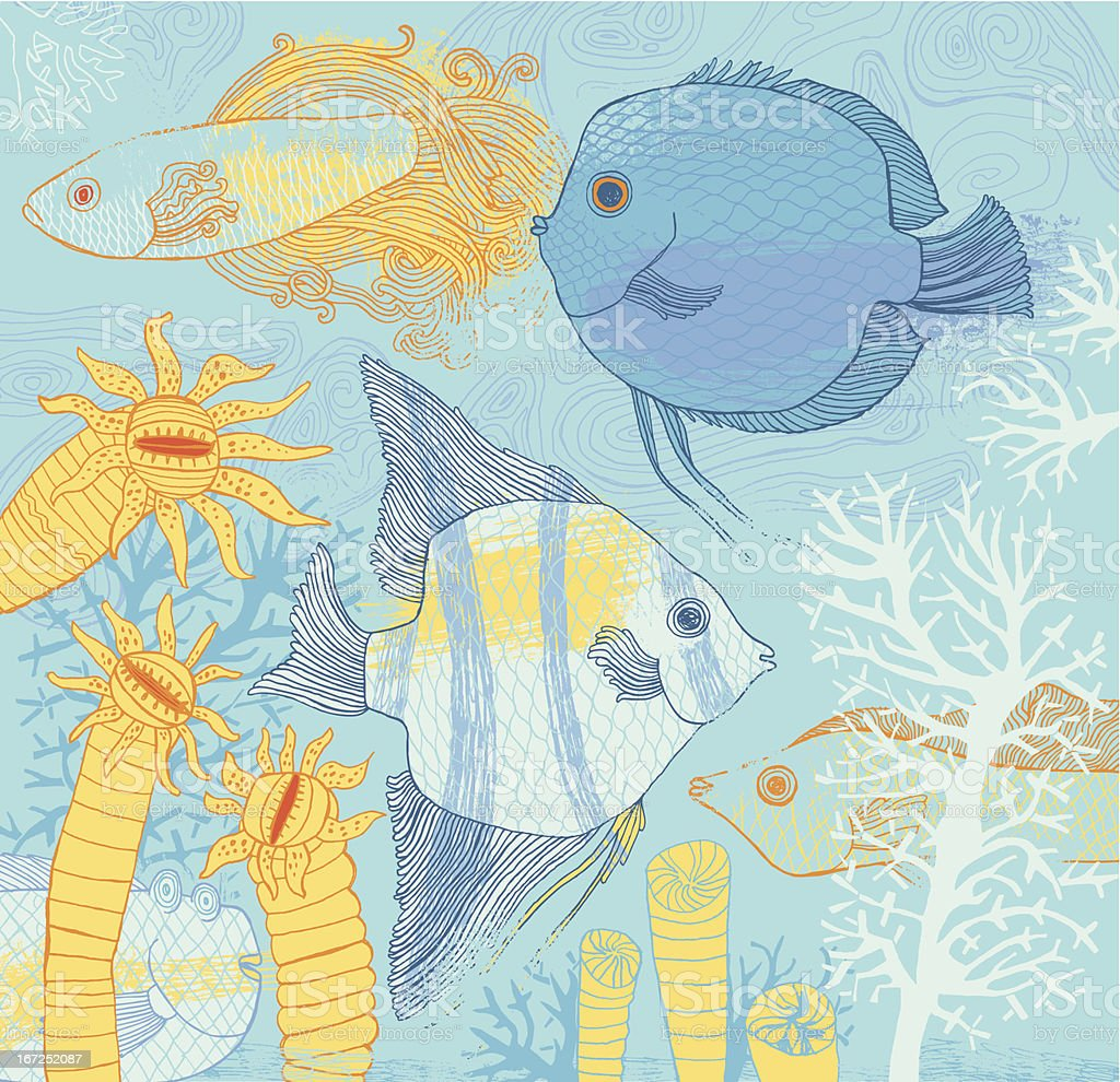 Fish and corrals vector art illustration