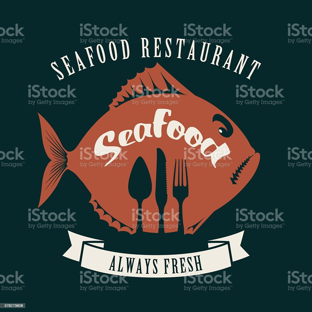 fish and cutlery vector art illustration