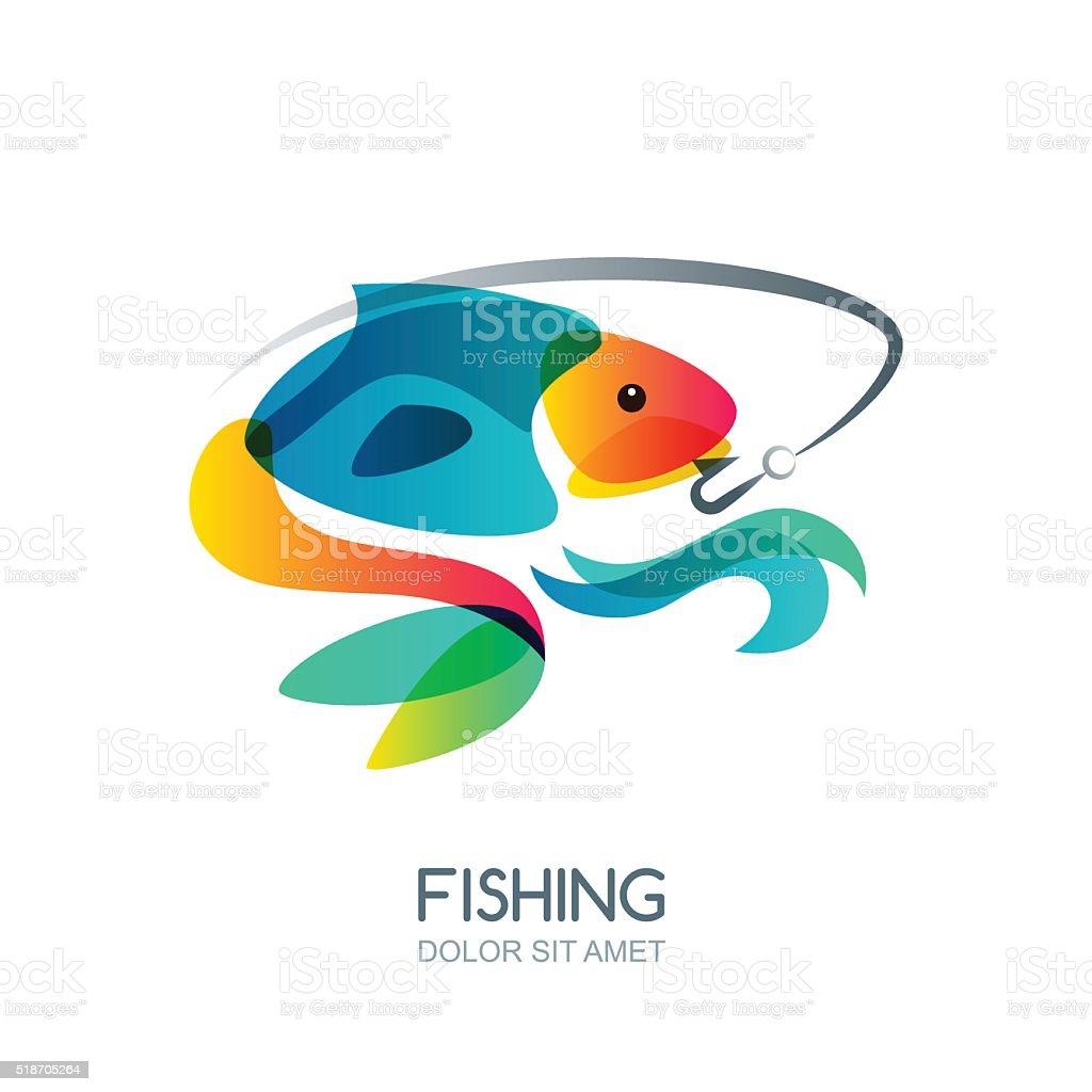 Fish and fishing hook. Vector fishing label, emblem design elements. vector art illustration