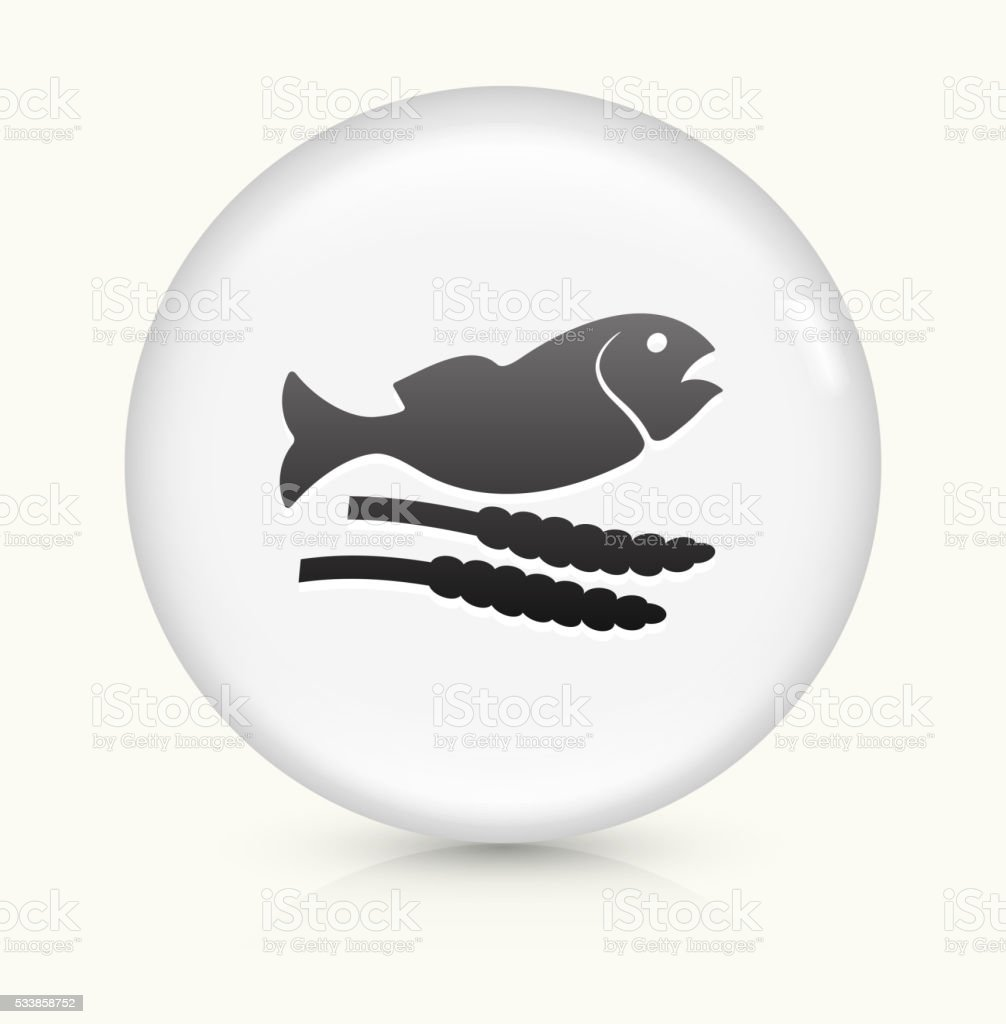 Fish and Grain icon on white round vector button vector art illustration