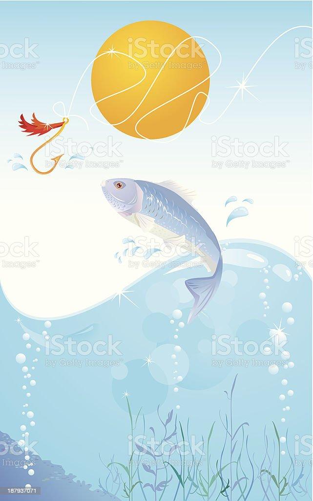 fish and hook royalty-free stock vector art