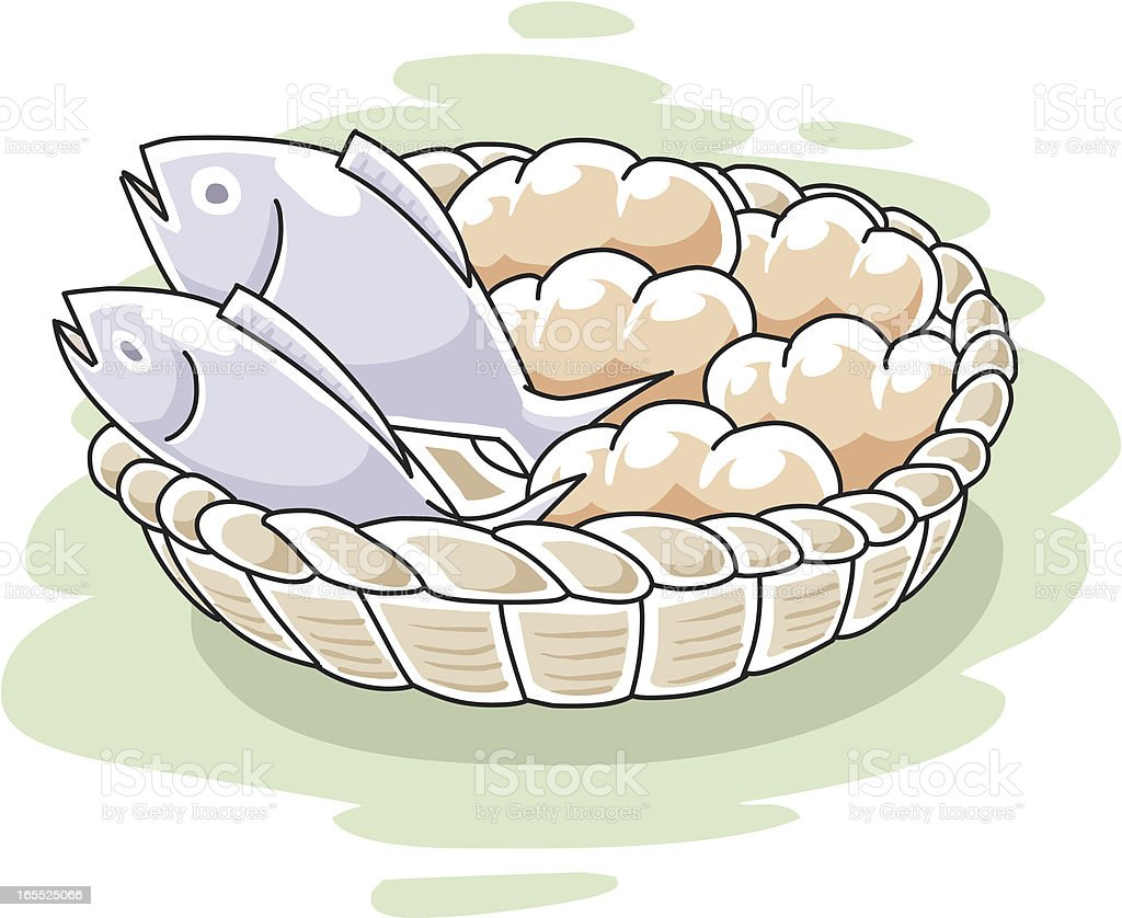 fish and loaves vector art illustration