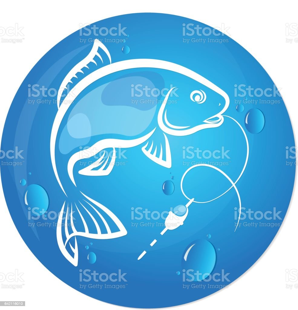 Fish and water drop design for fishing vector art illustration