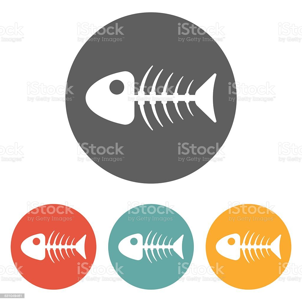 fish bone icon vector art illustration