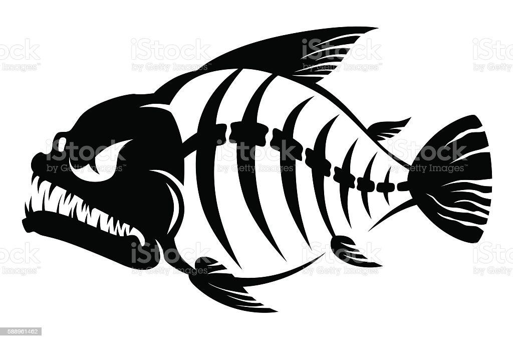 Fish bones vector art illustration