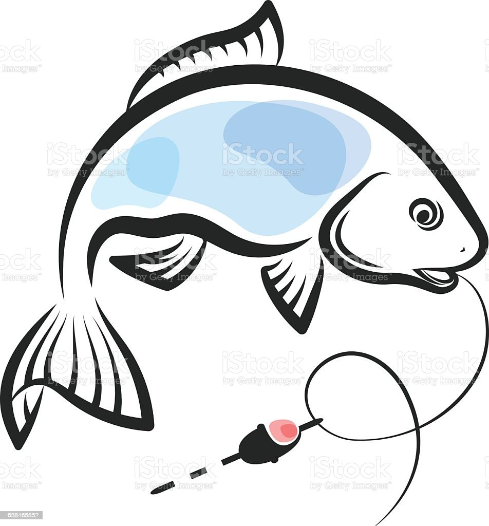 Fish caught on a hook vector art illustration